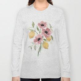 Watercolor-poppies-and-lemons Long Sleeve T-shirt