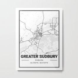 Greater Sudbury - City Map Metal Print