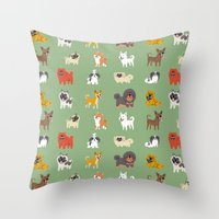 asian Throw Pillows featuring ASIAN DOGS by Doggie Drawings