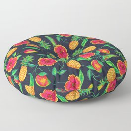 Tropical fruit and flowers Floor Pillow
