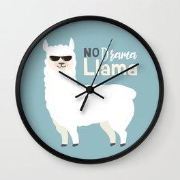 NO DRAMA LLAMA Wall Clock