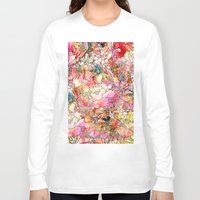 preppy Long Sleeve T-shirts featuring Summer Flowers | Colorful Watercolor Floral Pattern Abstract Sketch by Girly Trend