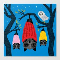 blankets Canvas Prints featuring Bats in Blankets by Oliver Lake