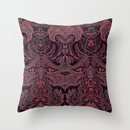 Paisley 9 Red Throw Pillow