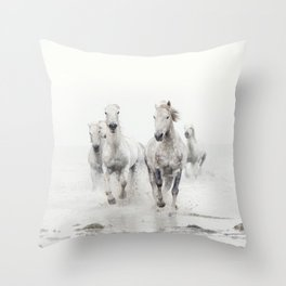 Camargue White Horses Running in Water - Nature Photography Throw Pillow
