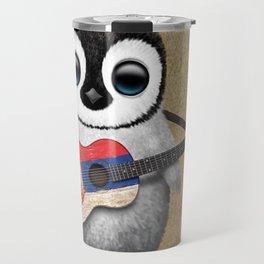 Baby Penguin Playing Serbian Flag Guitar Travel Mug