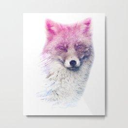 FOX SUPERIMPOSED WATERCOLOR Metal Print