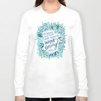 fitzgerald Long Sleeve T-shirts featuring Zelda Fitzgerald – Blue on White by Cat Coquillette