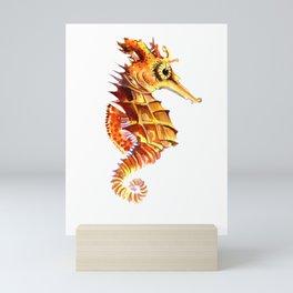 Seahorse, orange yellow cute animals illustration children room nursery sea world art Mini Art Print