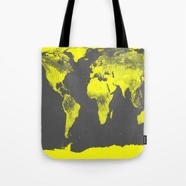 world map : Yellow & Gray Tote Bag