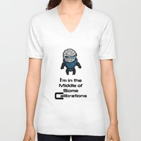 garrus V-neck T-shirts featuring Garrus: In the middle of some calibrations by Skart87