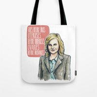 leslie knope Tote Bags featuring Leslie Knope by Tiffany Willis