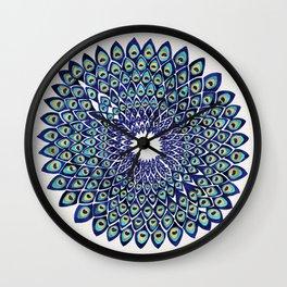 Peacock Mandala – Navy & Gold Wall Clock