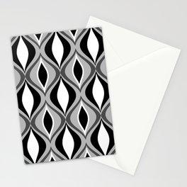 Mid-Century Modern Diamonds, Black, White and Gray Stationery Cards