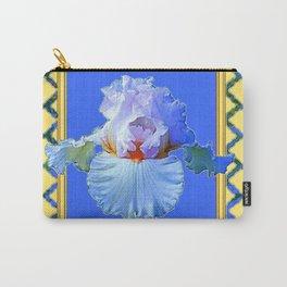 BLUISH-WHITE PASTEL IRIS FLOWER BOTANICAL ART Carry-All Pouch