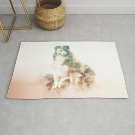 Rough Collie Digital Watercolor Painting Rug