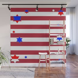 PATRIOTIC JULY 4TH  RED STARS DECORATIVE DESIGN Wall Mural