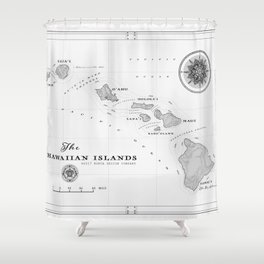 The Hawaiian Islands [Black & White] Map Print Shower Curtain