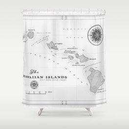 The Hawaiian Islands [Black & White] Map Print Shower Curtain