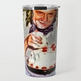 Eating Cake in a Bush with Johnny Cash Portrait Painting by Jeanpaul Ferro Travel Mug