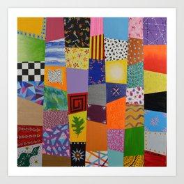 Party patchwork Art Print