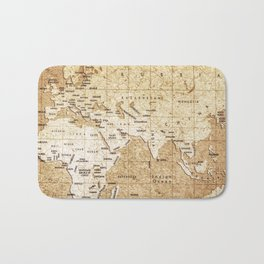 Vintage Map Pattern Bath Mat