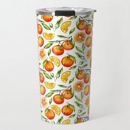 orange pattern tangerine citrus print Travel Mug