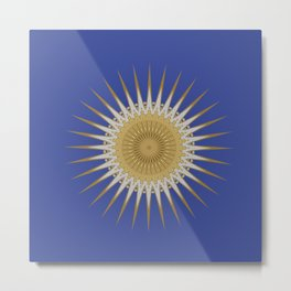 Bright Blue Gold Star Mandala Metal Print