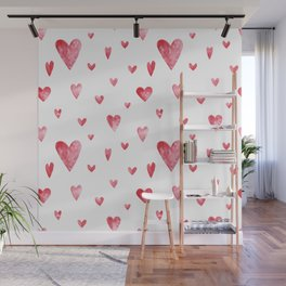 Watercolor print with hearts Wall Mural