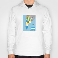 political Hoodies featuring political map of Argentina country with flag by tony tudor