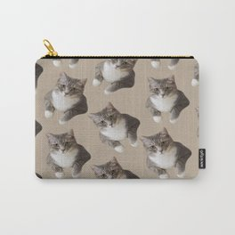 beige tan grey american wirehair cat pattern Carry-All Pouch