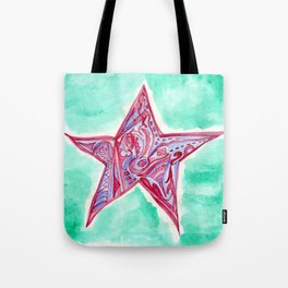 Pink & Blue Star Tote Bag