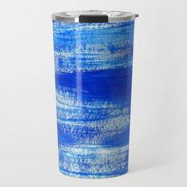 Cool & Calming Cobalt Blue Paint on White  Travel Mug