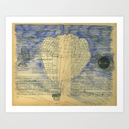 Balloon travel to Mysterious Island Art Print