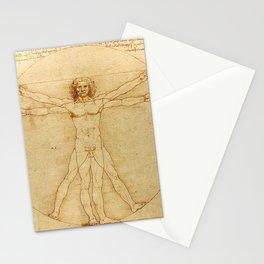 Le proporzioni del corpo umano secondo Vitruvio, Leonardo da Vinci, 1490 Stationery Cards