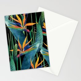 Watercolor Painting Tropical Bird of Paradise Plants large Stationery Cards
