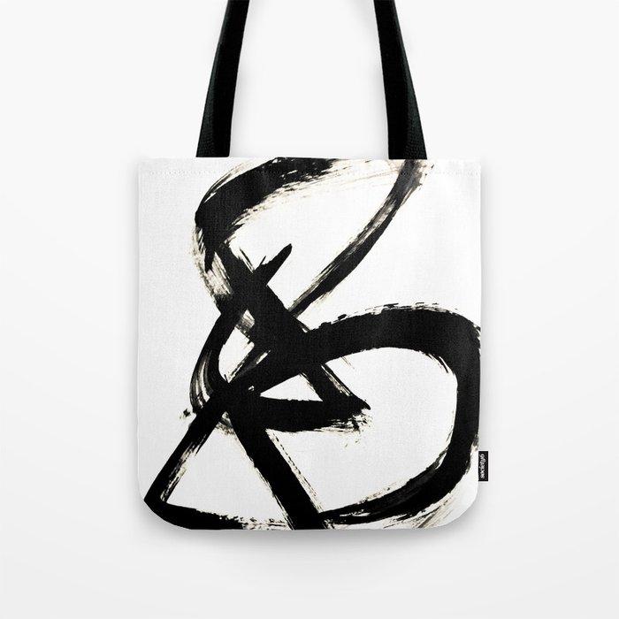 e3b3914508 Brushstroke 3 - a simple black and white ink design Tote Bag by  blushingbrushstudio