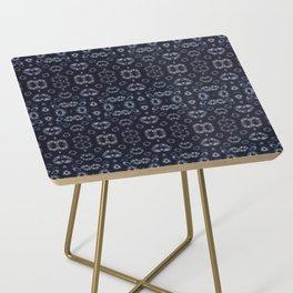 Dark Indigo Marble Shibori Side Table