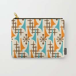 Retro Mid Century Modern Atomic Wing Pattern 422 Brown Orange and Turquoise Carry-All Pouch