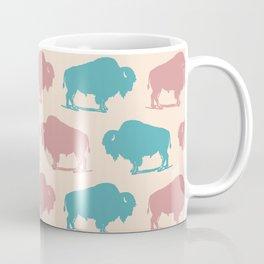 Buffalo Bison Pattern Dusty Rose and Turquoise Coffee Mug