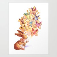 eevee Art Prints featuring Eevee Used Swift by Katy Farina