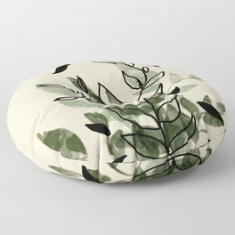 Green and black leaves Floor Pillow
