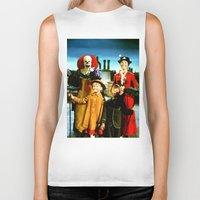 mary poppins Biker Tanks featuring PENNYWISE IN MARY POPPINS by Luigi Tarini