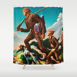 Classical Masterpiece 'The Kentuckian' by Thomas Hart Benton Shower Curtain