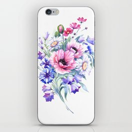 Field flowers bouquet. Watercolor illustration iPhone Skin