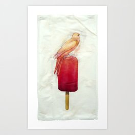 Strawberry Canary Popsicle Art Print