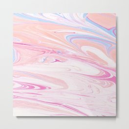Pink Gold Marble Swirl Watercolor Brushstroke Metal Print