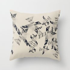 B&W Aztec pattern illustration Throw Pillow