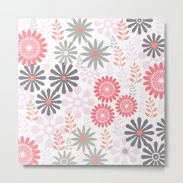 Floral pattern in pink and gray Metal Print
