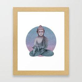 Buddha with cat2 Framed Art Print